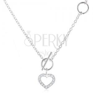 Stříbrný 925 náhrdelník, zirkonový obrys souměrného srdce a řetízek