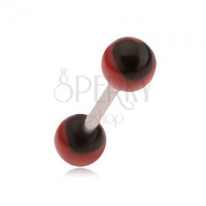 Ocelový piercing do jazyka, červené kuličky s černými srdci