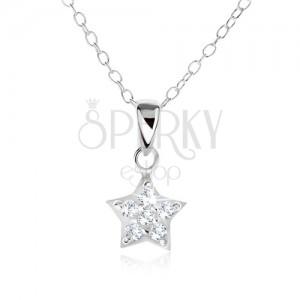 Náhrdelník ze stříbra 925, řetízek a zirkonová hvězda