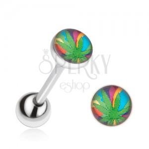 Piercing do jazyka z chirurgické oceli, list marihuany na barevném pozadí