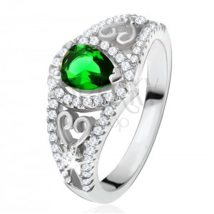 Prsten ze stříbra 925, zelený slzičkovitý kámen, čiré zirkony, obrysy srdcí