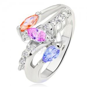 Prsten stříbrné barvy, barevné zrníčkovité kamínky, oblá čirá linie