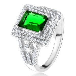 Prsten s obdélníkovým zeleným zirkonem, dvojitý čirý lem, šipky, stříbro 925