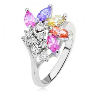 Prsten s větvičkou s čirými a barevnými zrníčkovitými kamínky