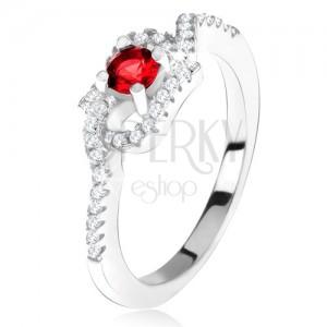 Stříbrný 925 prsten, červený kamínek, zatočená zirkonová ramena