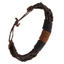 Náramek - čokoládově hnědé pletence, tmavě modré a oříškově hnědé šňůrky