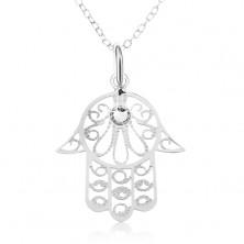 Stříbrný 925 náhrdelník - řetízek z oválných oček, ruka Fatimy, čirý zirkon