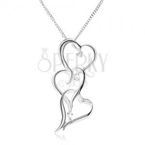 Řetízek se třemi obrysy nesouměrných srdcí, čiré zirkony - náhrdelník ze stříbra 925