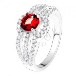 Prsten ze stříbra 925, červený kámen, oblé zirkonové linie
