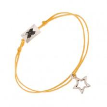 Náramek ze žlutých motouzků, obrys hvězdy a broušený kvádr