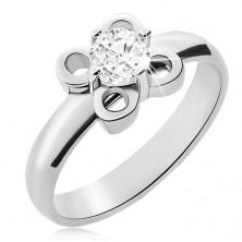 Ocelový prsten stříbrné barvy, kvítek s čirým zirkonem