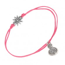 Šnúrkový náramok ružovej farby, margarétka, ozdoba v tvare esa