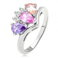 Lesklý prsteň - zakrivené rameno- farebné zirkóny slza - číra korunka