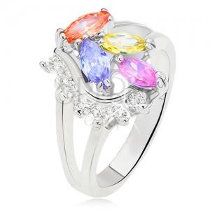 Prsten s rozdvojenými rameny, barevné zrníčkovité kamínky, čirá oblá linie