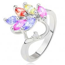 Lesklý prsteň - farebné zrnkovité zirkóny - list, číry kamienok