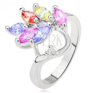 Lesklý prsten - barevné zrnkovité zirkony - list, čirý kamínek