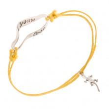 Žltý šnúrkový náramok na ruku - krokodíl - love much
