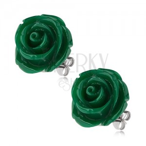 Puzetové ocelové náušnice, tmavě zelená růže z pryskyřice, 20 mm