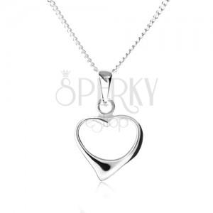 Náhrdelník ze stříbra 925, řetízek a špičatý obrys nesouměrného srdce
