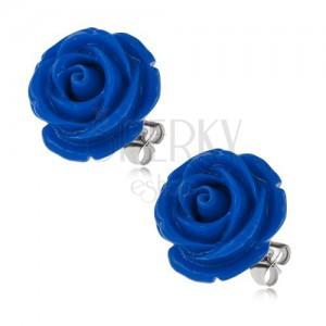 Ocelové náušnice, tmavě modrý květ růže, puzetové zapínání, 20 mm