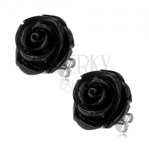 Ocelové náušnice, černý pryskyřicový květ růže, puzetové zapínání, 20 mm