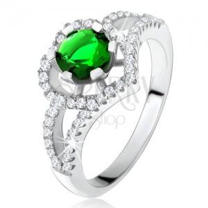 Prsten s rozdvojenými rameny, zelený zirkon, obrys srdce, stříbro 925