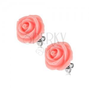 Náušnice z oceli, květ růže, růžová barva, puzetové zapínání, 14 mm