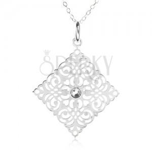 Stříbrný 925 náhrdelník - řetízek, ozdobně vyřezávaný čtverec, zirkon