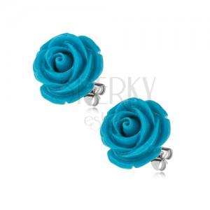 Puzetové náušnice z chirurgické oceli, modrá rozkvetlá růže, 14 mm