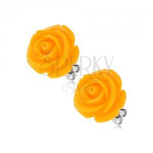 Ocelové puzetové náušnice, lesklý pryskyřicový květ růže žluté barvy, 14 mm