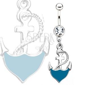Ocelový piercing do pupíku - modrá kotva s lanem, čirý kamínek
