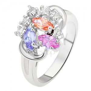 Prsten - rozdělená ramena, barevné zrnkovité zirkony, čiré kamínky