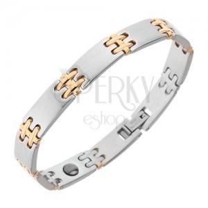 Ocelový náramek na ruku, matné články, lesklé spoje H zlaté barvy, magnety