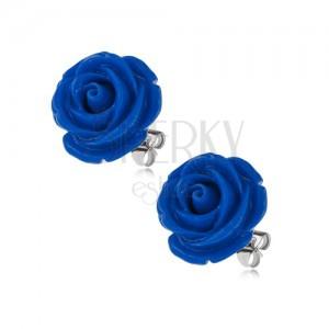 Náušnice z chirurgické oceli, puzety, tmavě modrá růže z pryskyřice, 14 mm