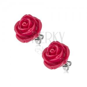 Puzetové náušnice z chirurgické oceli, bordó květ růže z pryskyřice, 14 mm