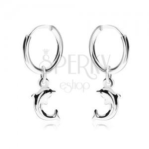 Náušnice ze stříbra 925, lesklý hladký kroužek, delfín