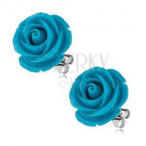 Náušnice z chirurgické oceli, modrý pryskyřicový květ růže, 20 mm