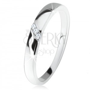 Prsten ze stříbra 925, diagonální pás čirých zirkonů