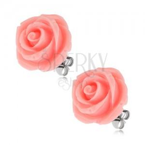 Puzetové ocelové náušnice, růže z pryskyřice, růžová barva, 20 mm