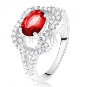 Stříbrný 925 prsten, oválný rubínový kámen, zirkonový uzel