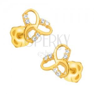 Náušnice ve žlutém 9K zlatě - blyštivý keltský uzel, čiré kamínky