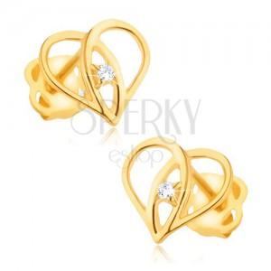 Náušnice ze žlutého 9K zlata - obrys srdce, překrývající se ramena, zirkon