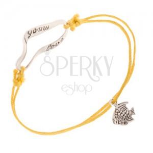 Náramek na ruku, žlutý, šňůrkový - rybička, stuha, much love