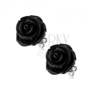 Náušnice z oceli, černá barva, květ růže, puzetové zapínání, 14 mm