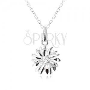 Stříbrný 925 náhrdelník - řetízek a přívěsek s kopretinou, čirý zirkon