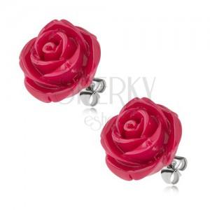 Puzetové ocelové náušnice, růže z pryskyřice, barva bordó, 20 mm