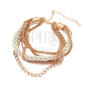 Náramek - zatočená perleťová spirála ze šňůrek, řetízky zlaté barvy