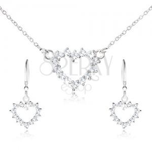 Set ze stříbra 925 - náhrdelník a visací náušnice, zirkonový obrys srdce