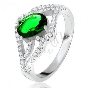 Prsten s oválným zeleným kamenem, zvlněná zirkonová ramena, stříbro 925