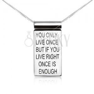 Stříbrný 925 náhrdelník, řetízek, známka s motivačním nápisem